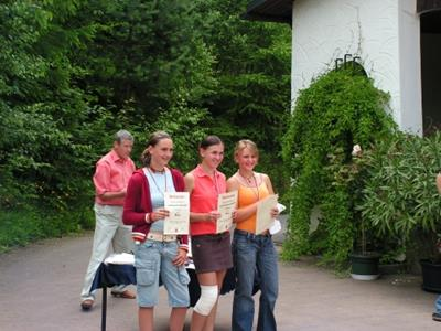 Landesmeisterin:  Fabienne Cantner (rechts) 2. Platz: Franziska Bräutigam (Mitte) 3. Platz: Mandy Wengeroth (links) / Linda Queck (nicht im Bild)