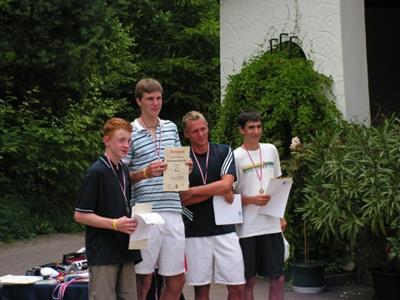 Landesmeister: Georg Matschke (2. von links) 2. Platz: Florian Ludewig (links) 3. Platz: Gregor Opfermann (2. von rechts) / Dustin Möller (rechts)
