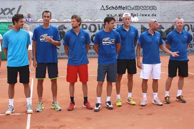 von links nach rechts: Edouard Roger-Vasselin, Lukas Rosol, Andreas Seppi, Horacio Zeballos, Johannes Ager, Marco Mirnegg, Leos Friedl